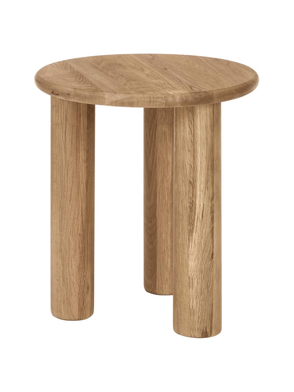 Stolik pomocniczy z drewna dębowego Didi, Lite drewno dębowe, olejowane, Brązowy, Ø 40 x W 45 cm
