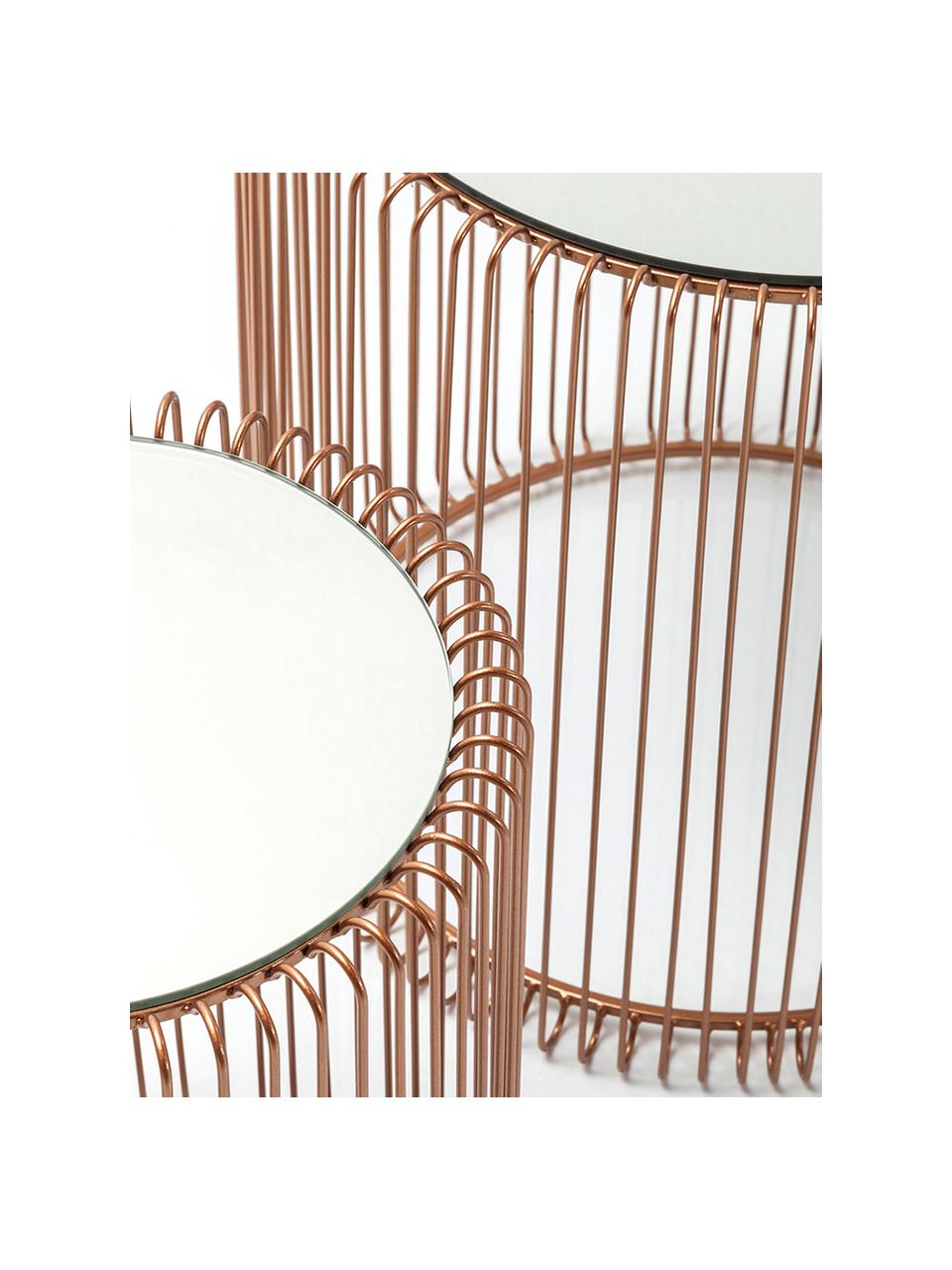 Metalen bijzettafel Wire met glazen tafelblad, 2-delig, Frame: gepoedercoat metaal, Tafelblad: veiligheidsglas, in folie, Koperkleurig, Set met verschillende formaten