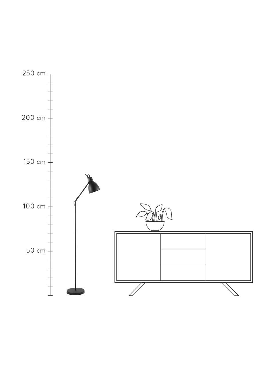 Industrial-Leselampe Ethan aus Metall, Lampenschirm: Metall, pulverbeschichtet, Lampenfuß: Metall, pulverbeschichtet, Schwarz, Ø 15 x H 137 cm