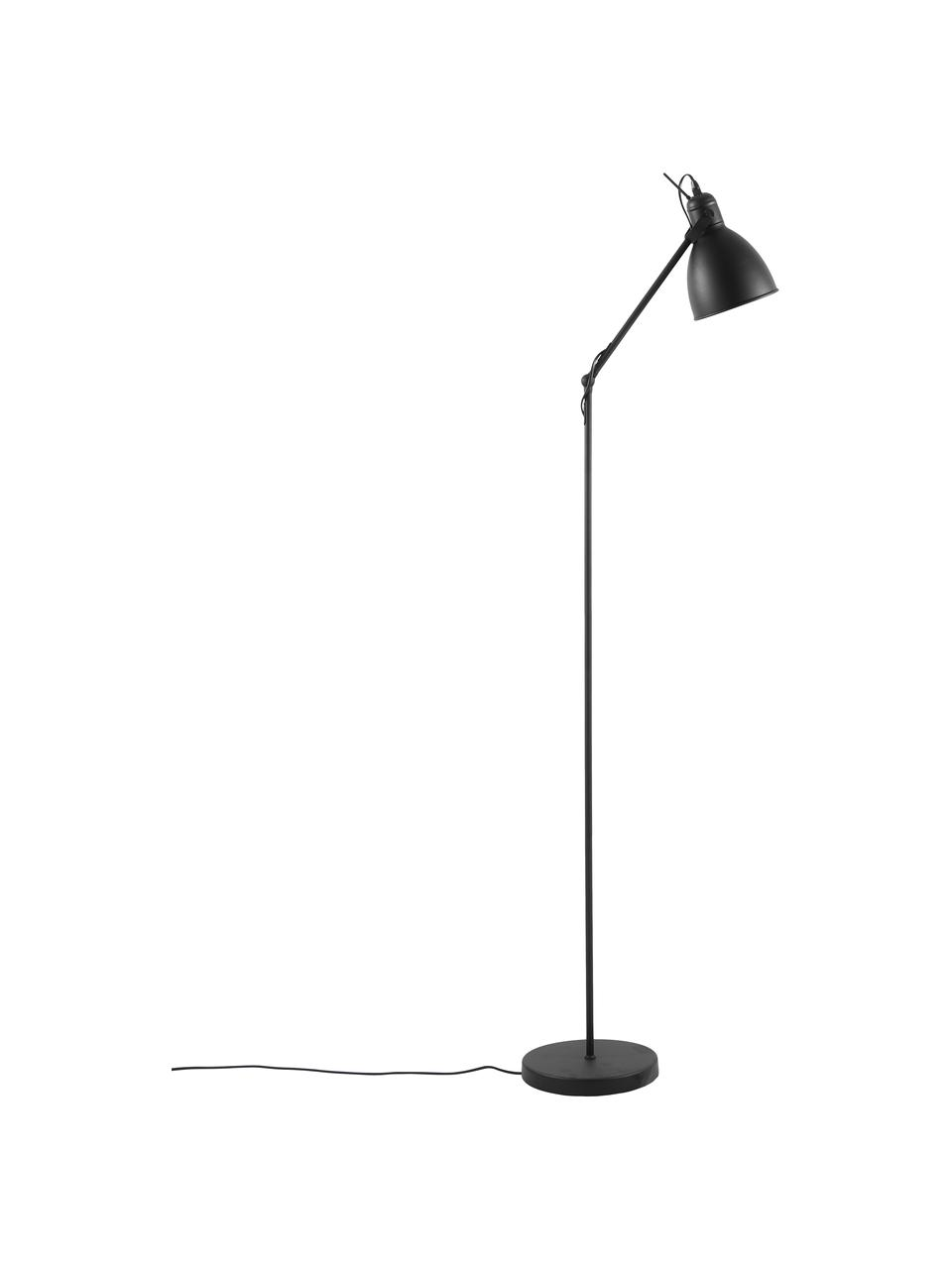 Industriële leeslamp Ethan van metaal, Lampenkap: gepoedercoat metaal, Lampvoet: gepoedercoat metaal, Zwart, Ø 15 x H 137 cm