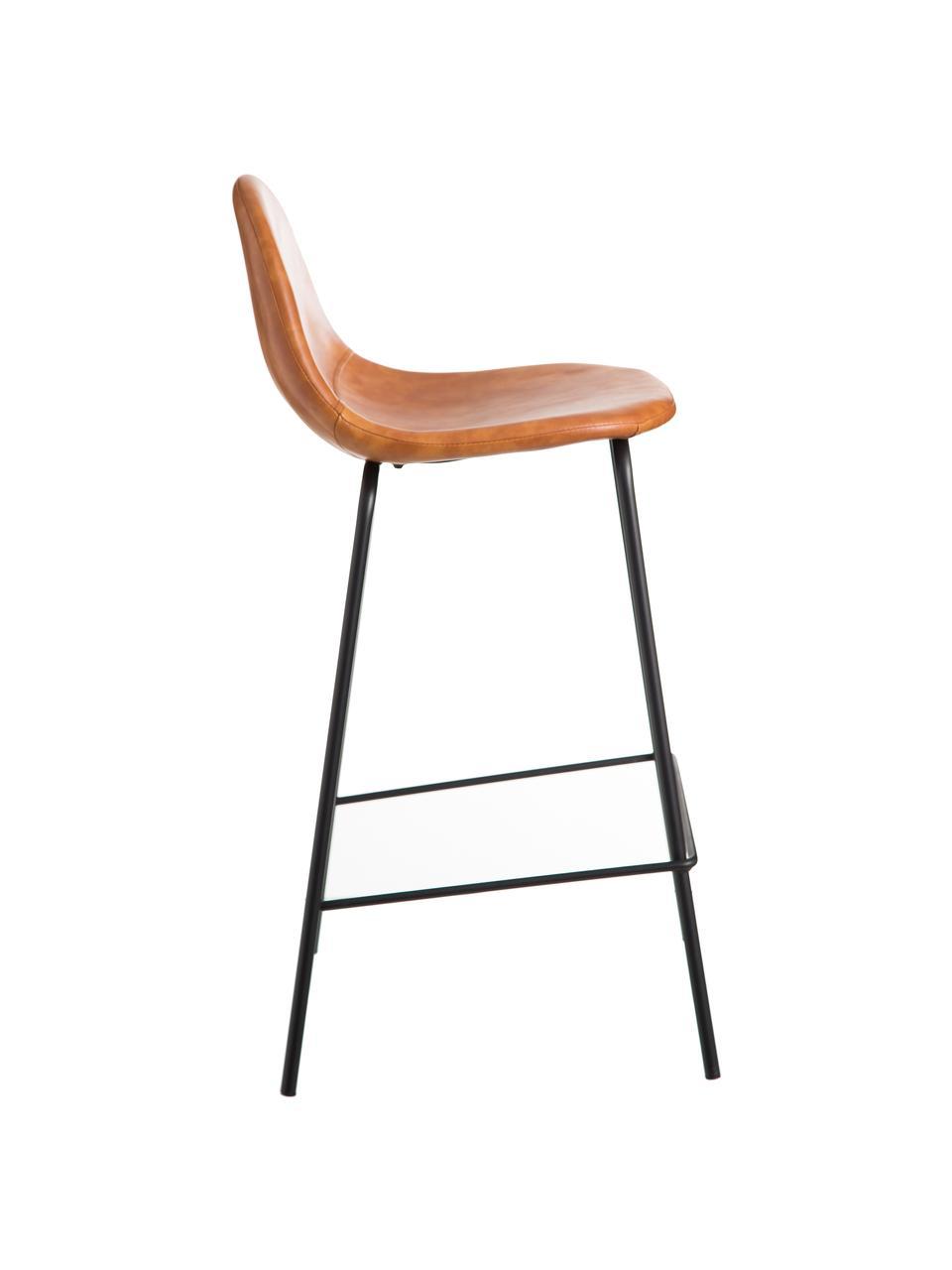 Krzesło barowe ze sztucznej skóry Adeline, Tapicerka: sztuczna skóra (poliureta, Nogi: metal, Karmelowy brązowy, czarny, S 42 x W 87 cm