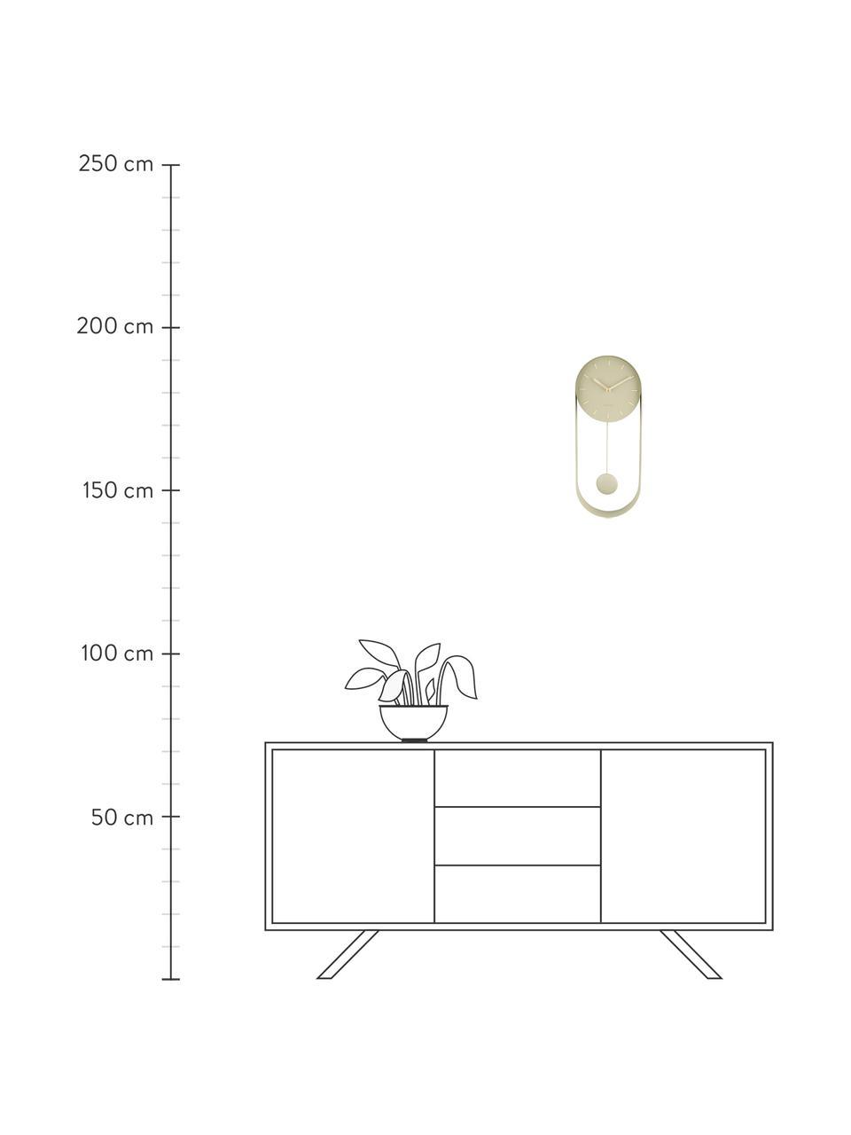 Wandklok Charm, Gecoat metaal, Beige, 20 x 50 cm