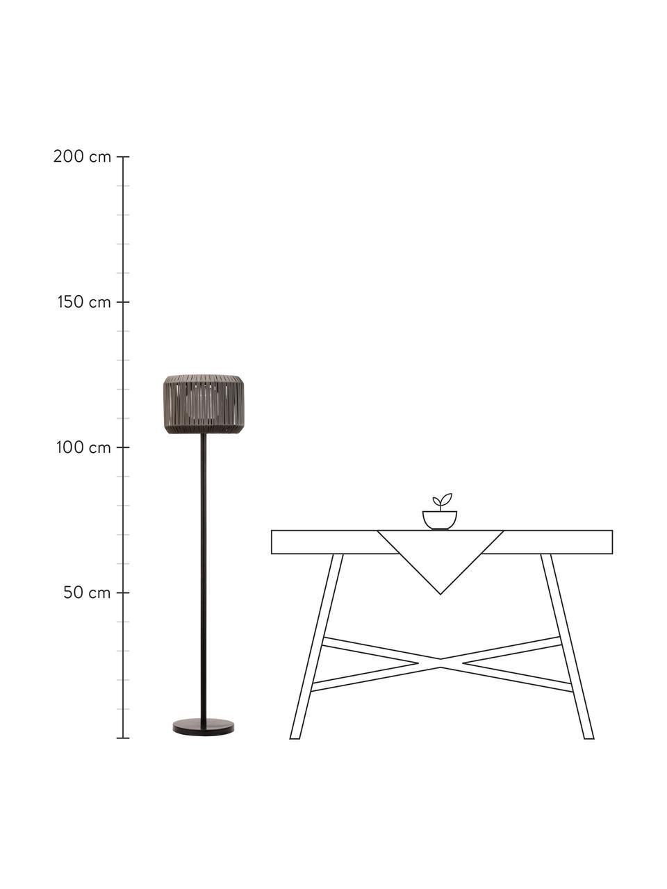 Mobile Solar Stehlampe Sunshine Elegance, Lampenschirm: Polyrattan, Lampenfuß: Metall, beschichtet, Schwarz, Grau, Ø 33 cm