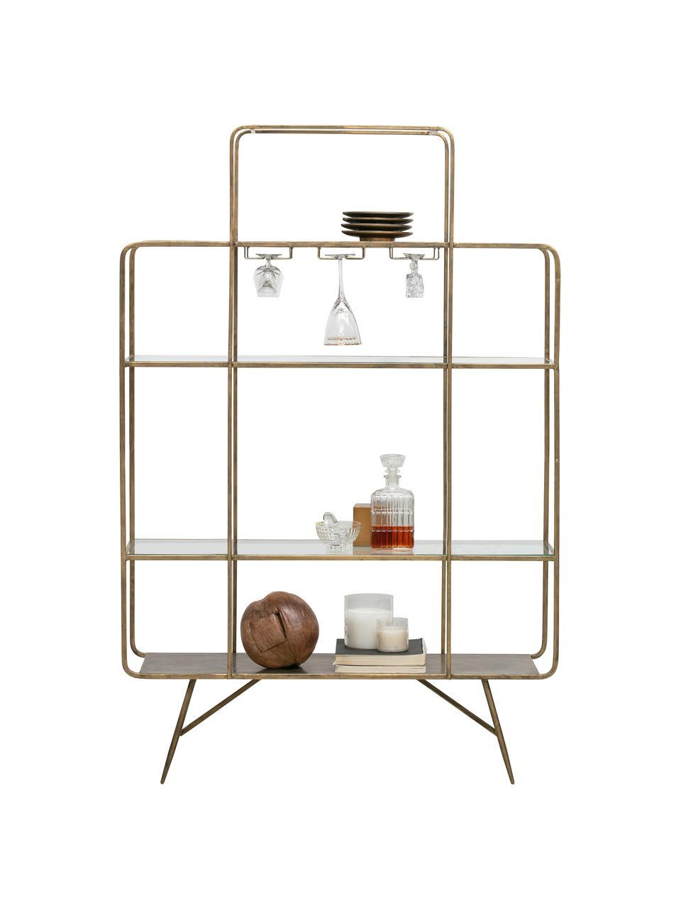 Portabottiglie con finitura antica Cheers, Metallo verniciato, Ottonato, Larg. 110 x Alt. 167 cm