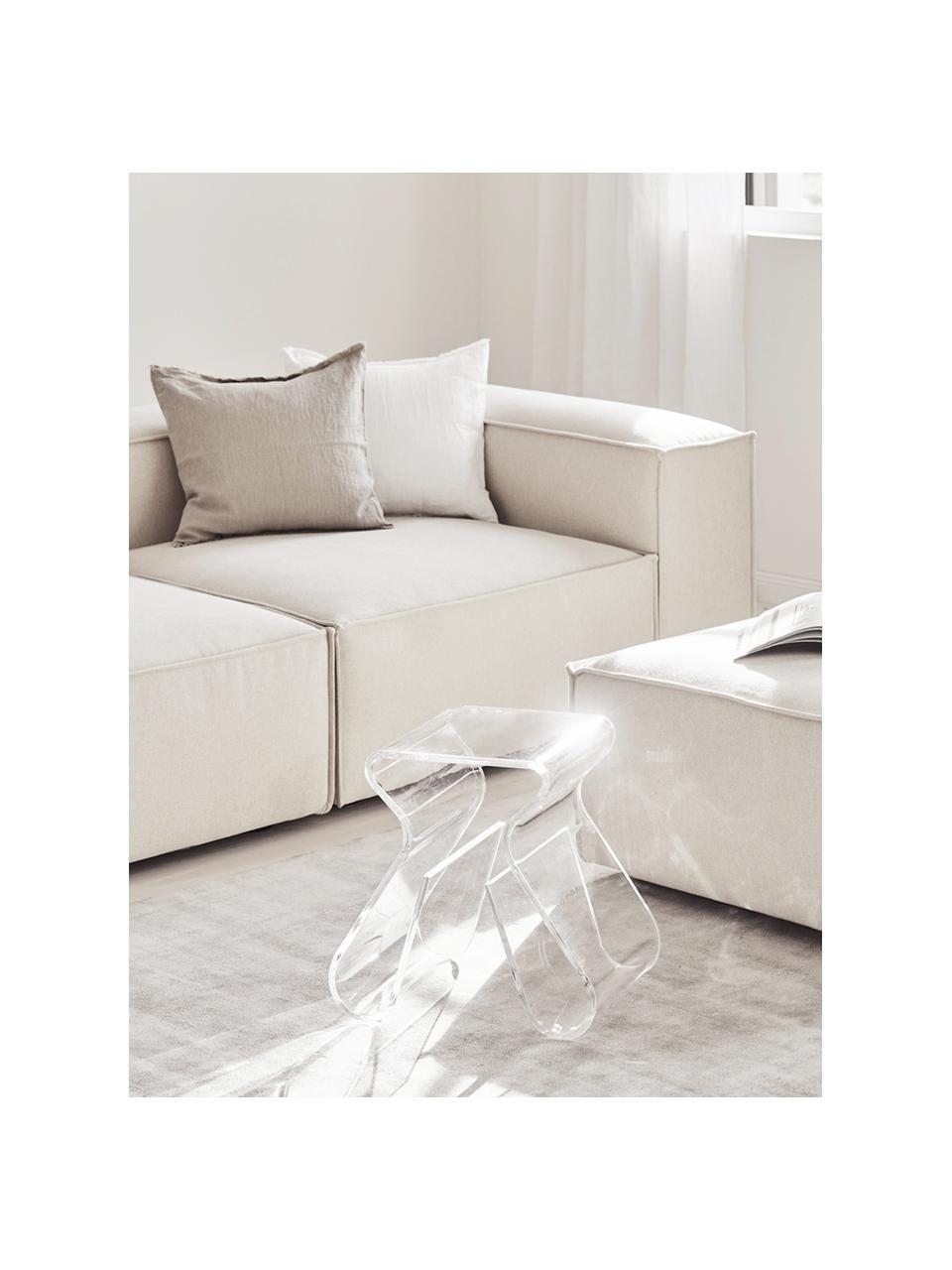 Modulaire chaise longue Lennon in beige, Bekleding: polyester De hoogwaardige, Frame: massief grenenhout, multi, Poten: kunststof De poten bevind, Geweven stof beige, B 269 x D 119 cm