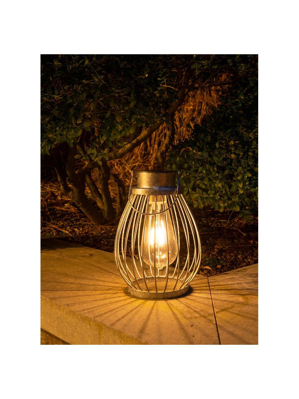 Outdoor solar lamp Grid om op te hangen of te zetten, Lampenkap: glas, Edelstaalkleurig, Ø 16 x H 30 cm