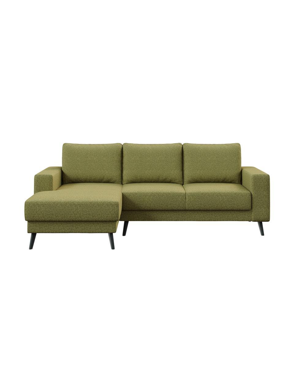 Sofa narożna Fynn, Tapicerka: 100% poliester z uczuciem, Stelaż: drewno liściaste, drewno , Nogi: drewno lakierowane Dzięki, Oliwkowy zielony, S 234 x G 145 cm