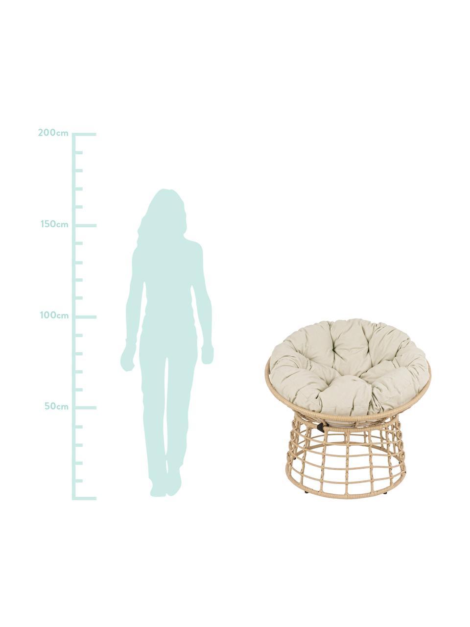 Papasan stoel Molly van kunststof-vlechtwerk en met Stoelkussen, Frame: gepoedercoat staal, Zitvlak: synthetische vezels, Bekleding: polyester, Lichtbruin, beige, Ø 92 x H 78 cm