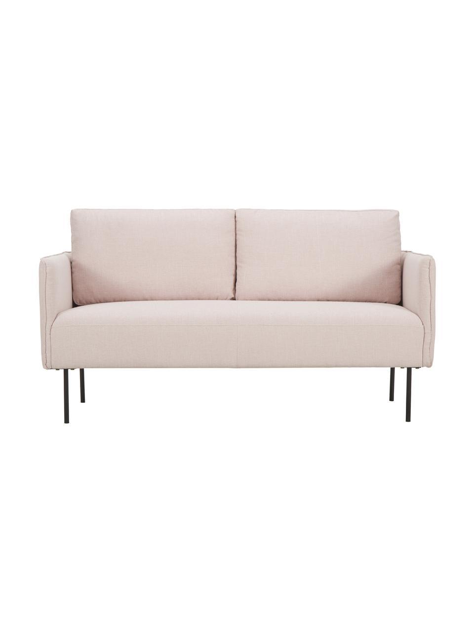 Sofa z metalowymi nogami Ramira (2-osobowa), Tapicerka: poliester 40000 cykli w , Nogi: metal malowany proszkowo, Blady różowy, S 151 x G 76 cm