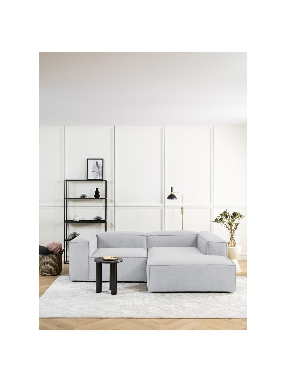 Canapé d'angle modulable gris clair Lennon, Tissu gris clair