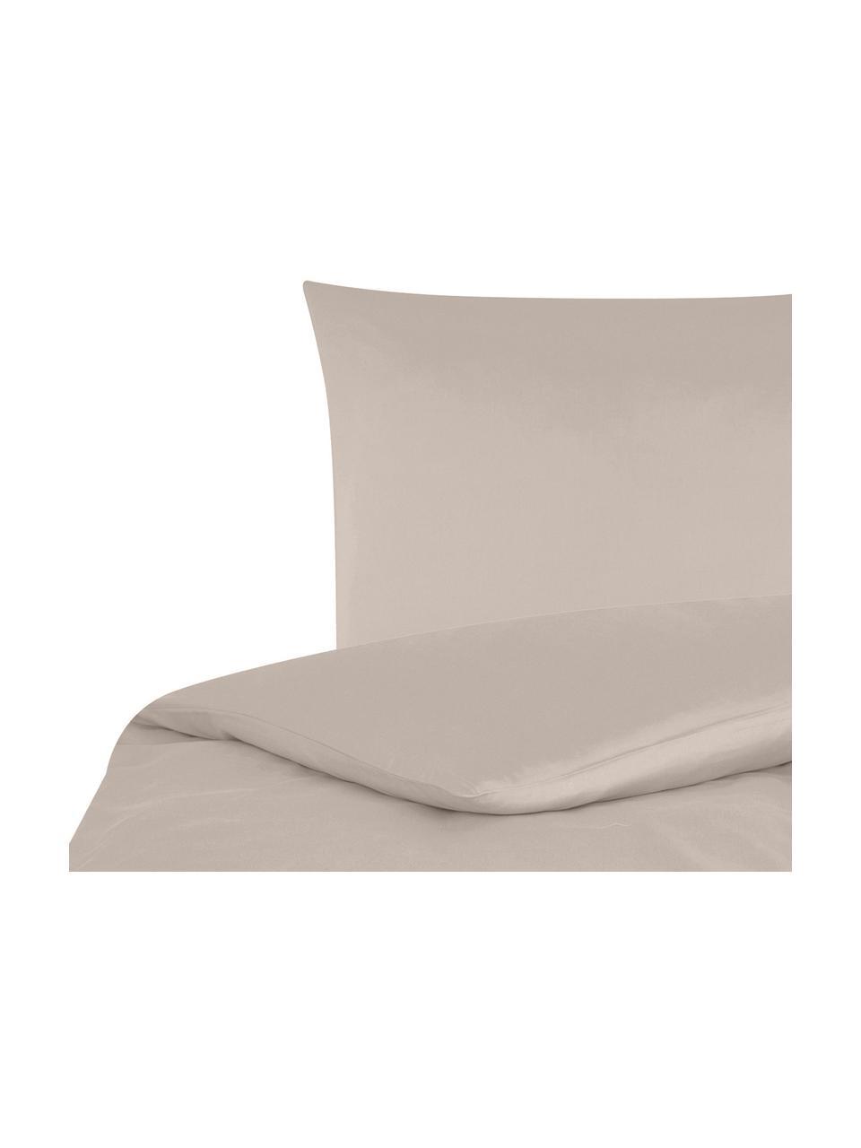 Baumwollsatin-Bettwäsche Comfort in Taupe, Webart: Satin Fadendichte 250 TC,, Taupe, 155 x 220 cm + 1 Kissen 80 x 80 cm
