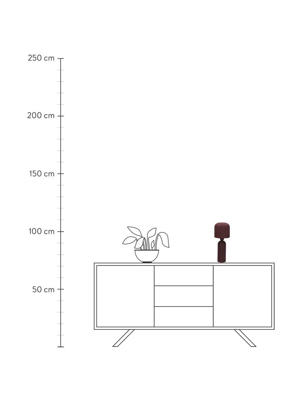 Design Tischlampe Bul in Weinrot, Lampenschirm: Metall, beschichtet, Lampenfuß: Metall, beschichtet, Weinrot, Ø 15 x H 35 cm