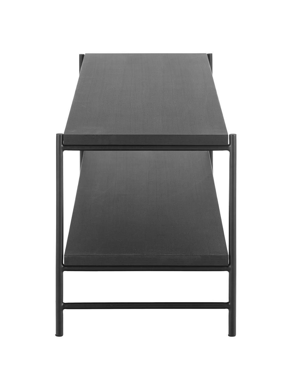 Szafka niska Mica, Stelaż: metal malowany proszkowo, Półki: fornir z drewna dębowego, czarny lakierowany Stelaż: czarny, matowy, S 120 x W 50 cm