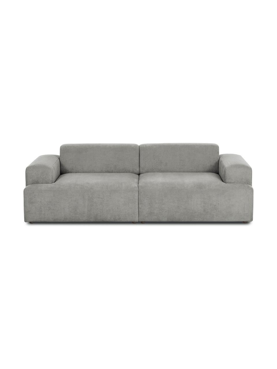 Cord-Sofa Melva (3-Sitzer) in Grau, Bezug: Cord (92% Polyester, 8% P, Gestell: Massives Kiefernholz, FSC, Füße: Kunststoff, Cord Grau, B 238 x T 101 cm