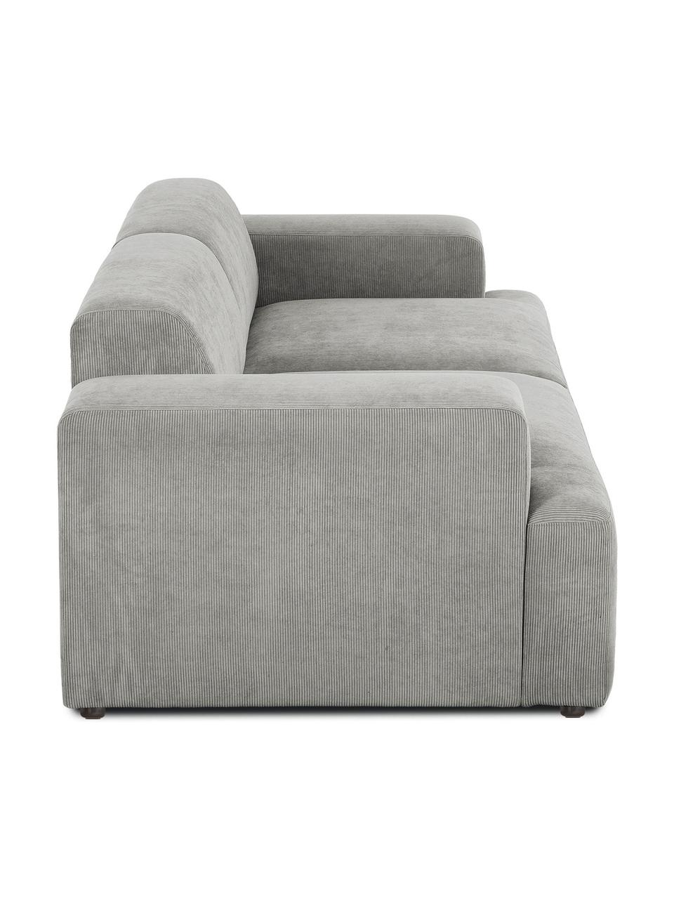 Sofa ze sztruksu Melva (3-osobowa), Tapicerka: sztruks (92% poliester, 8, Stelaż: lite drewno sosnowe, cert, Nogi: tworzywo sztuczne, Sztruksowy szary, S 238 x G 101 cm
