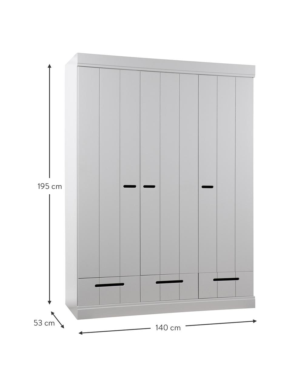 Kleiderschrank Connect mit 3 Türen in Hellgrau, Korpus: Kiefernholz, lackiert, Einlegeböden: Spanplatte, melaminbeschi, Hellgrau, 140 x 195 cm