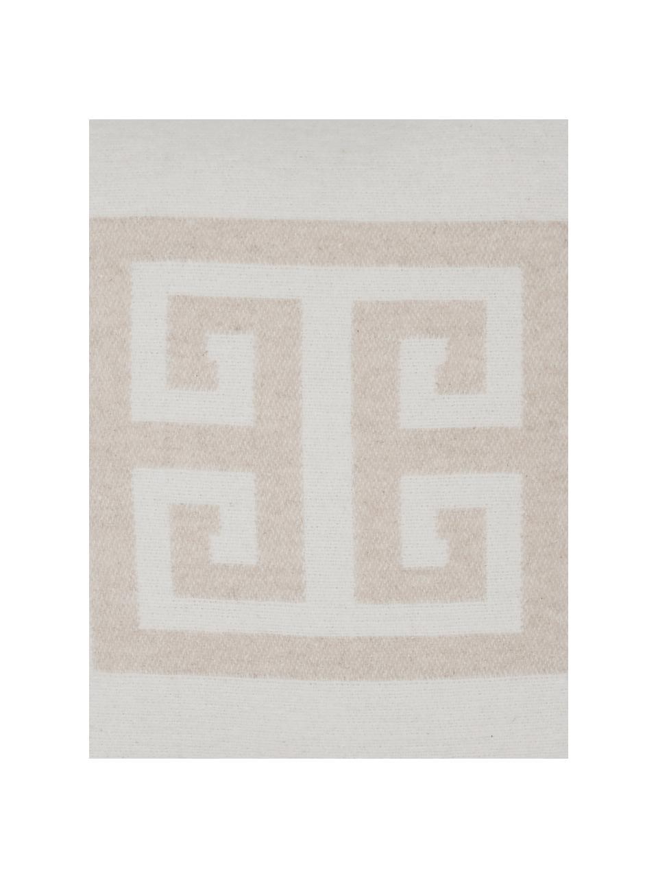 Funda de cojín estampada Lugano, 100%poliéster, Color arena, blanco crudo, An 45 x L 45 cm