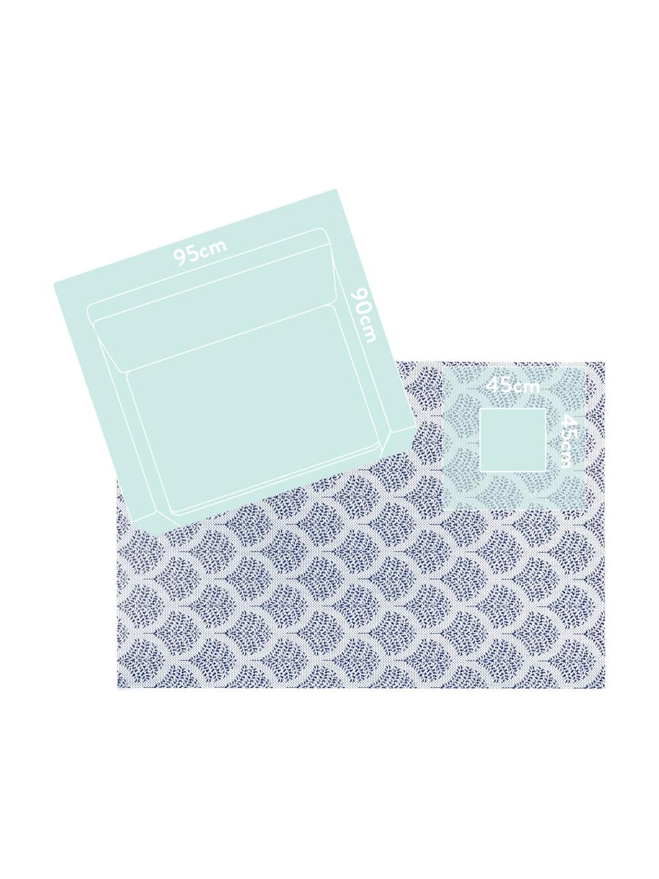 Gemusterter In- & Outdoor-Teppich Stan in Blau/Weiß, 100% Polypropylen, Blau, Weiß, B 200 x L 290 cm (Größe L)