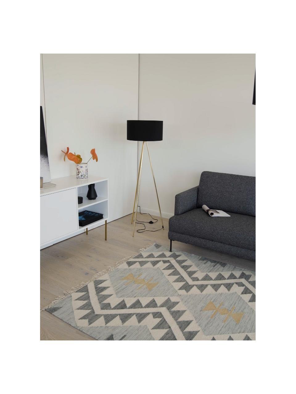 Lampa podłogowa trójnóg z kloszem z tkaniny Cella, Czarny, odcienie złotego, Ø 45 x W 147 cm