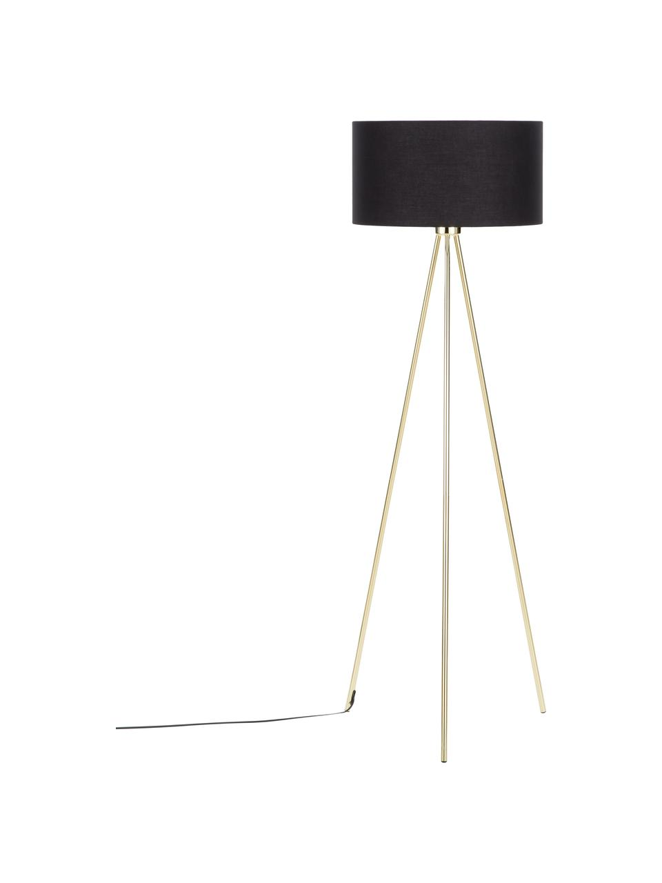 Lampada da terra con paralume in tessuto Cella, Paralume: miscela di cotone, Base della lampada: metallo, Nero, dorato, Ø 45 x Alt. 147 cm