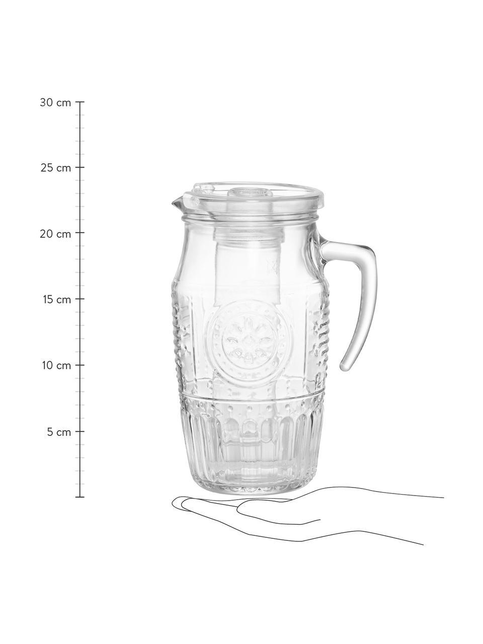 Pichet à embossages décoratifs et récipient à glace Freezy, 1,8L, Transparent