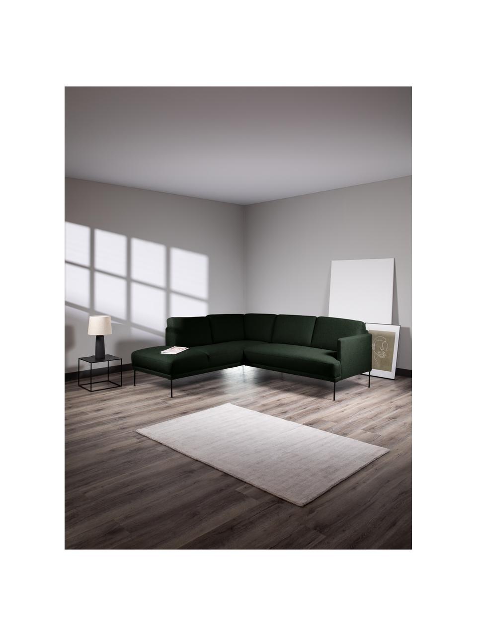 Canapé d'angle tissu vert foncé pieds en métal Fluente, Tissu vert foncé