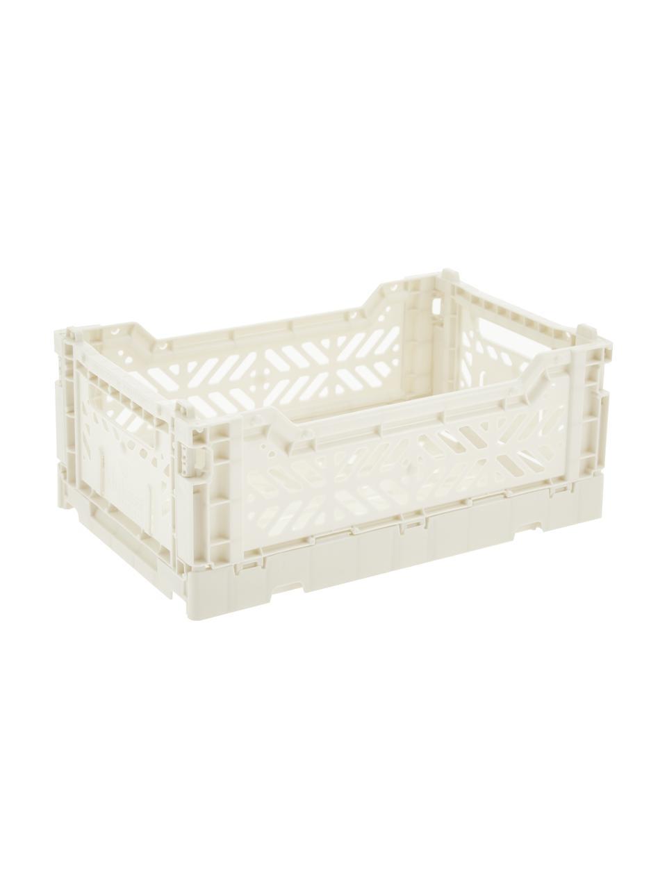 Caja plegable apilable Coconut Milk, pequeña, Plástico reciclado, Blanco roto, An 27 x Al 11 cm