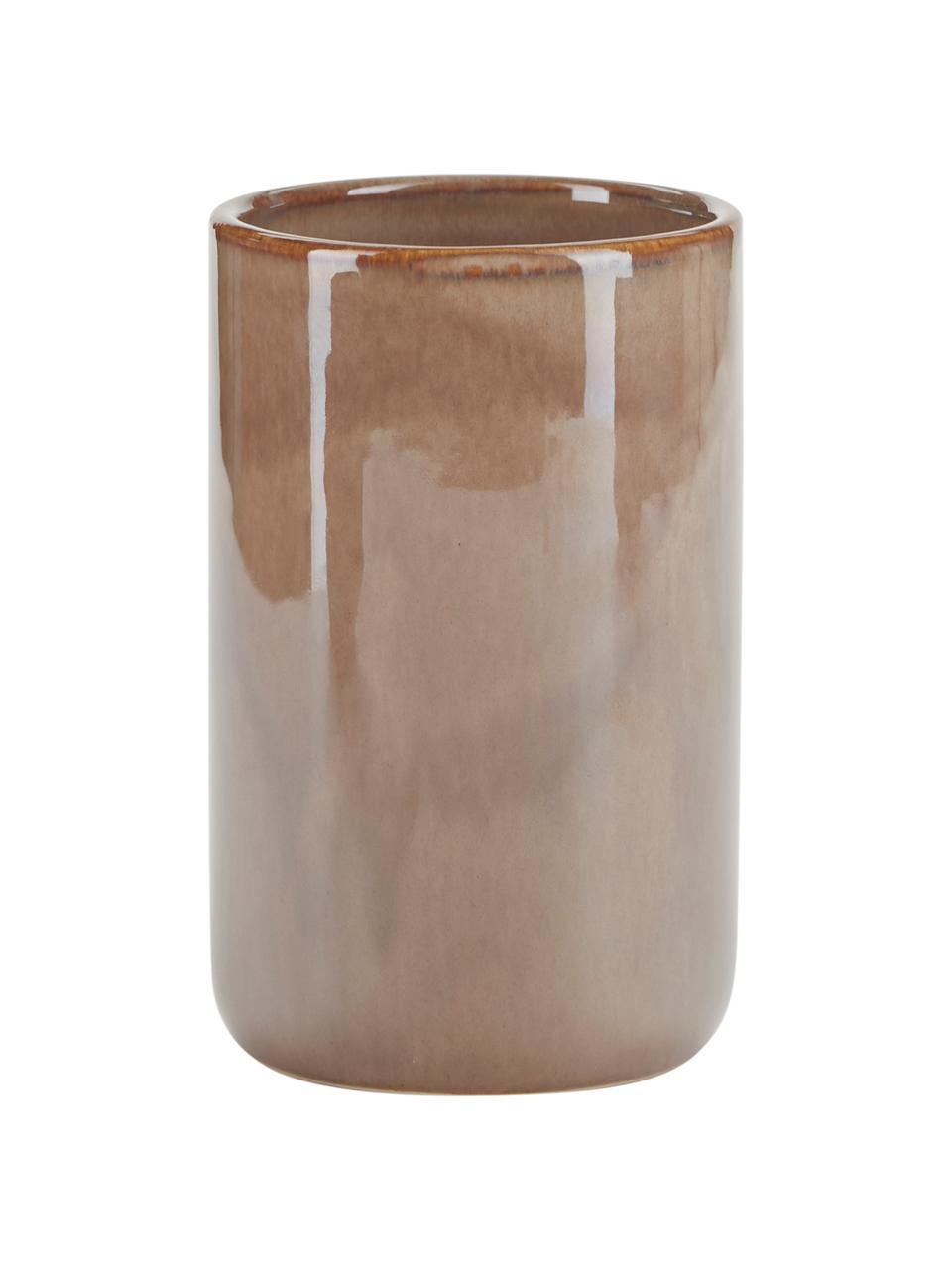 Tandenborstelbeker Tin van keramiek in bruin, Keramiek, Bruin, Ø 8 x H 12 cm
