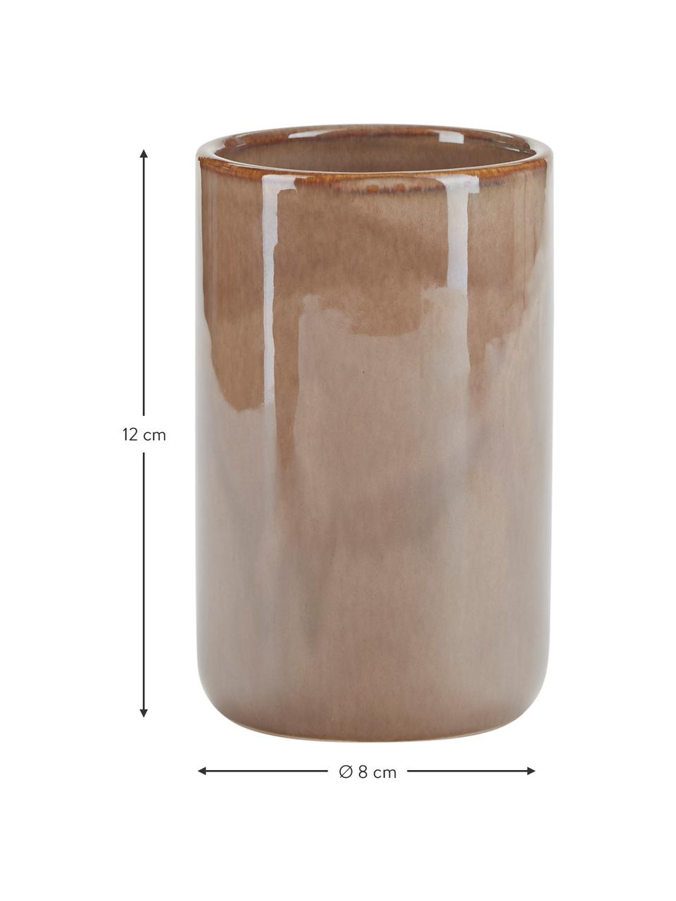 Zahnputzbecher Tin aus Keramik in Braun, Keramik, Braun, Ø 8 x H 12 cm