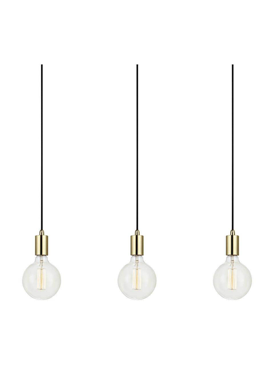 Suspension laiton 3 lampes Sky, Couleur dorée, noir