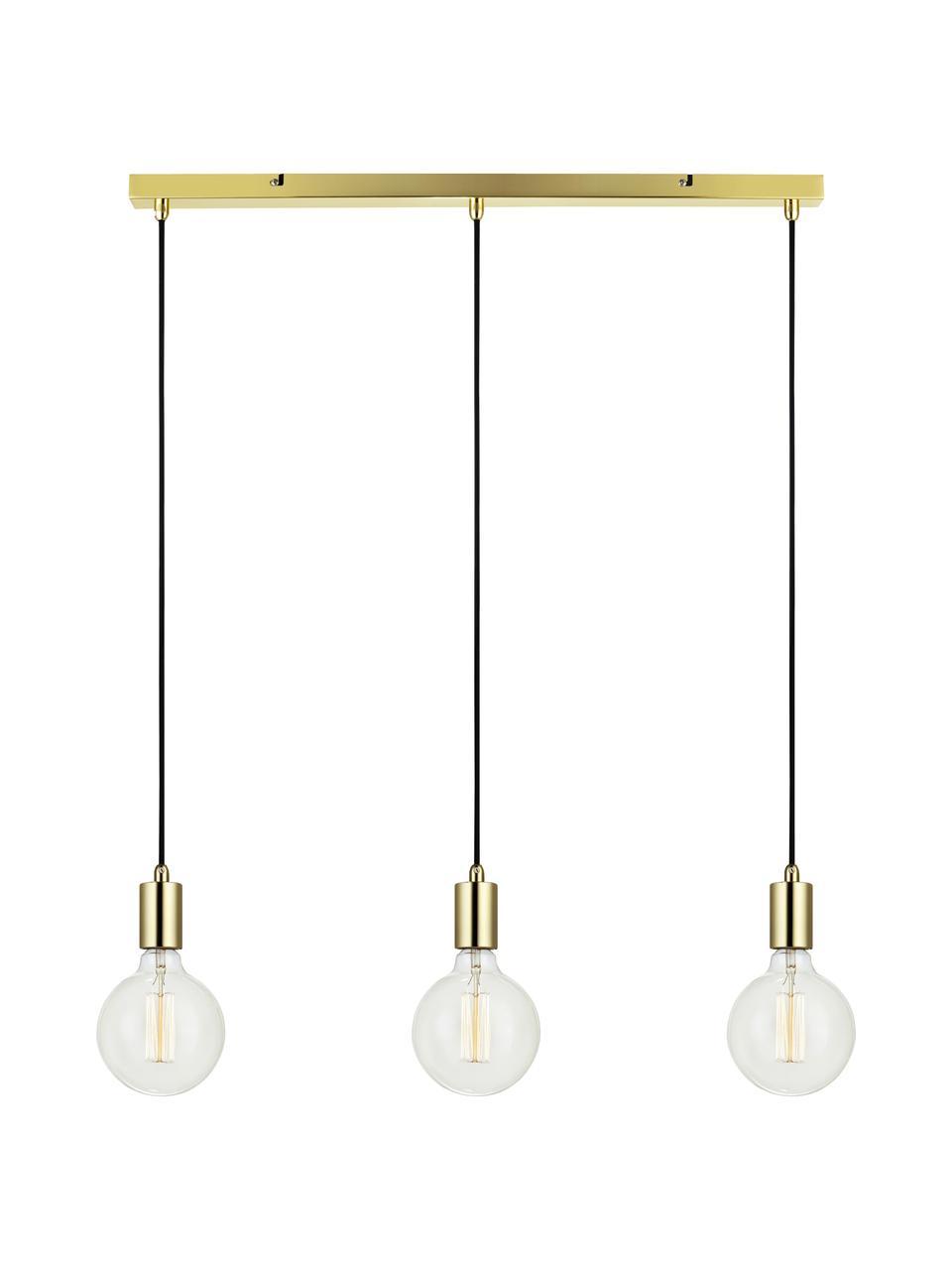 Lampada a sospensione in ottone Sky, Baldacchino: metallo ottonato, Dorato, nero, Larg. 68 x Alt. 145 cm