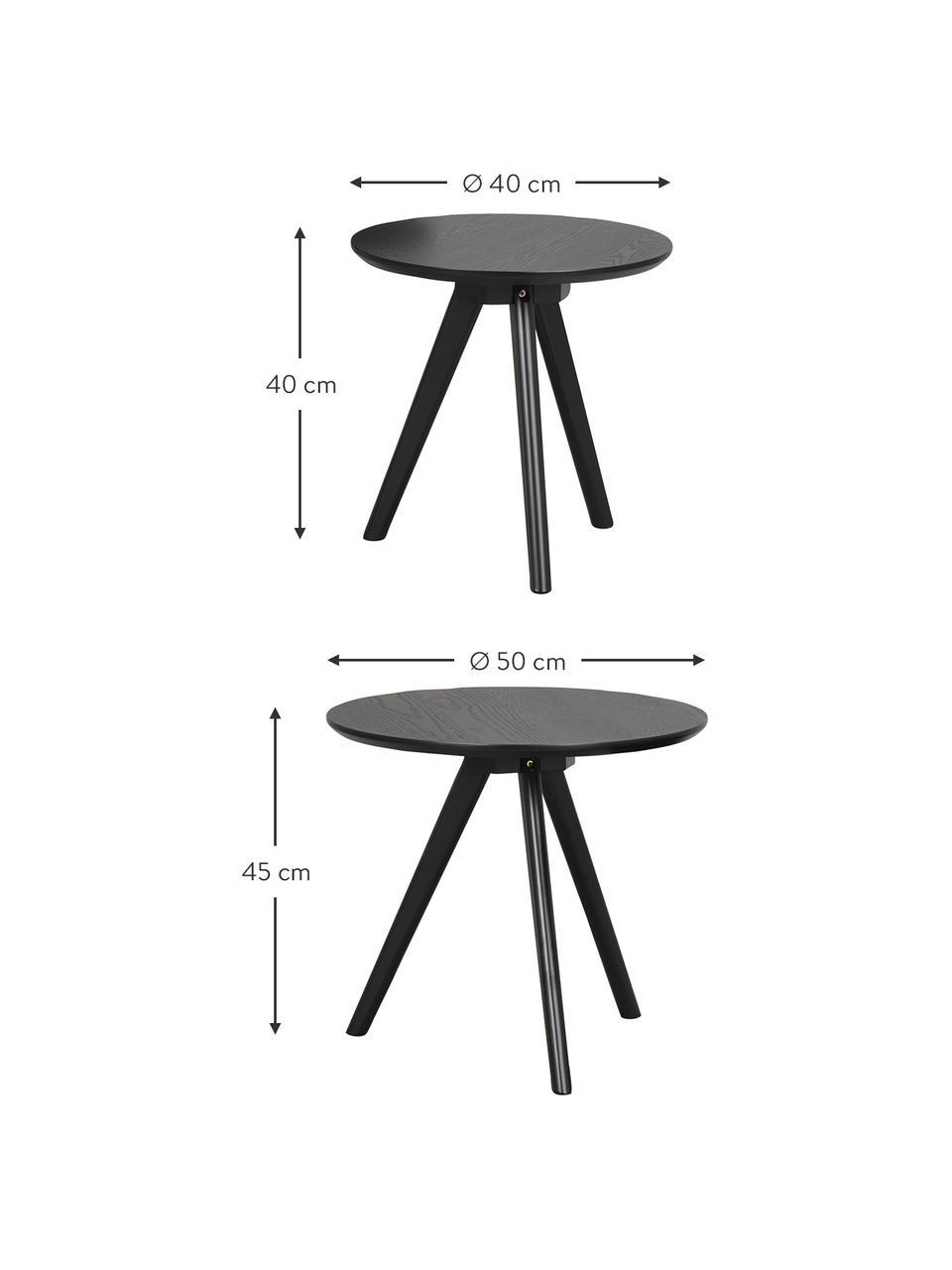 Komplet stolików pomocniczych Yumi, 2 elem., Blat: płyta pilśniowa średniej , Nogi: lite drewno kauczukowe, l, Czarny, Komplet z różnymi rozmiarami