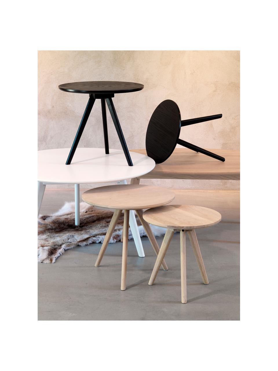 Bijzettafelset Yumi in zwart, 2-delig, Tafelblad: MDF met essenhoutfineer, Poten: massief gelakt rubberhout, Zwart, Set met verschillende formaten