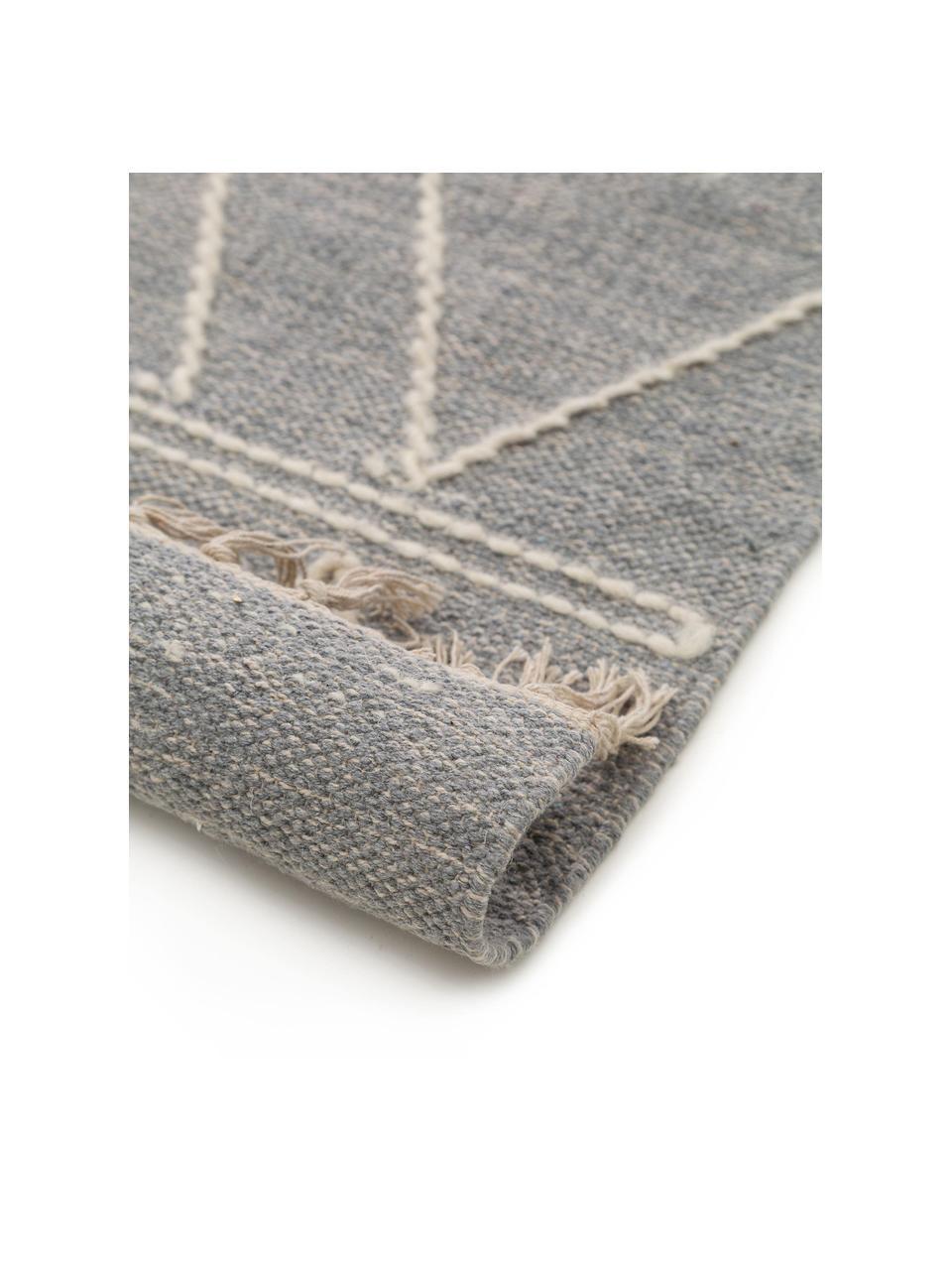 Handgeweven boho vloerkleed Sydney met franjes, 60% katoen, 40% wol, Lichtgrijs, crèmekleurig, B 160 x L 230 cm (maat M)