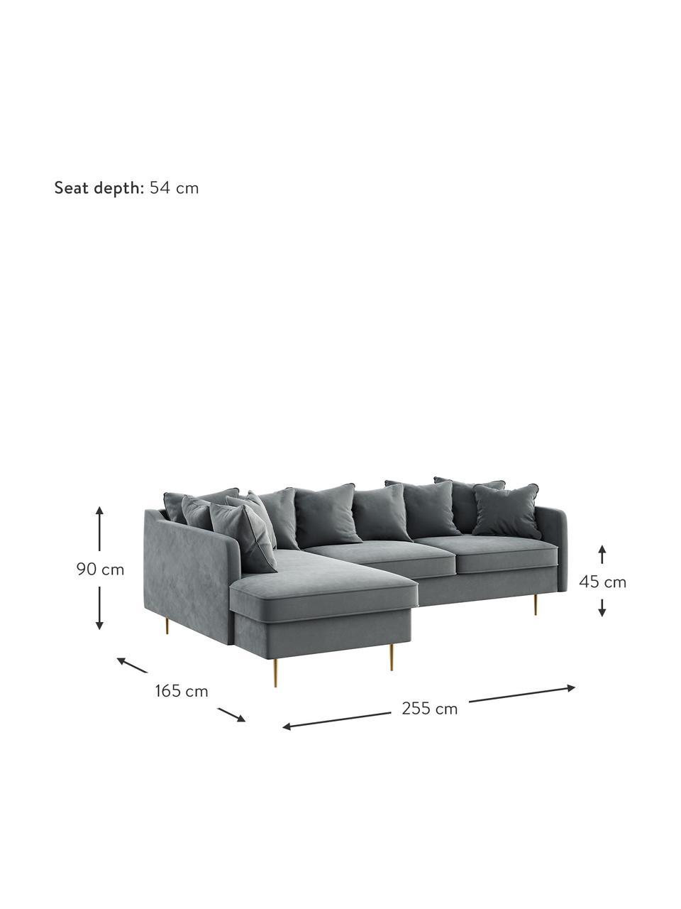 Sofa narożna z aksamitu Esme (4-osobowa), Tapicerka: 100% aksamit poliestrowy , Nogi: metal powlekany, Aksamitny stalowy szary, S 255 x G 165 cm