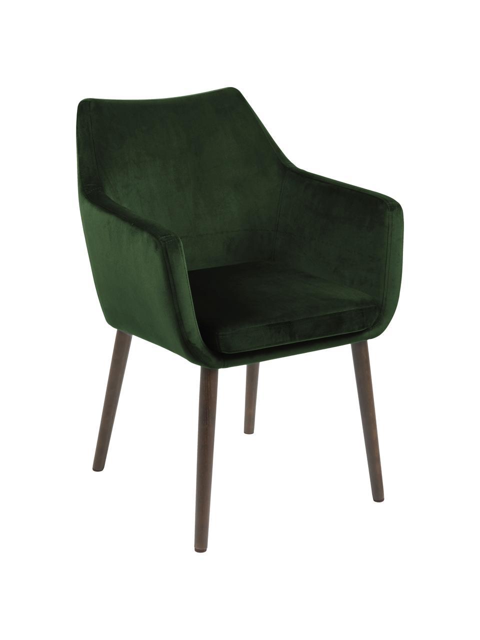 Krzesło z podłokietnikami z aksamitu Nora, Tapicerka: aksamit poliestrowy Dzięk, Nogi: drewno dębowe, bejcowane, Aksamitny leśny zielony, nogi: ciemny brązowy, S 58 x G 58 cm