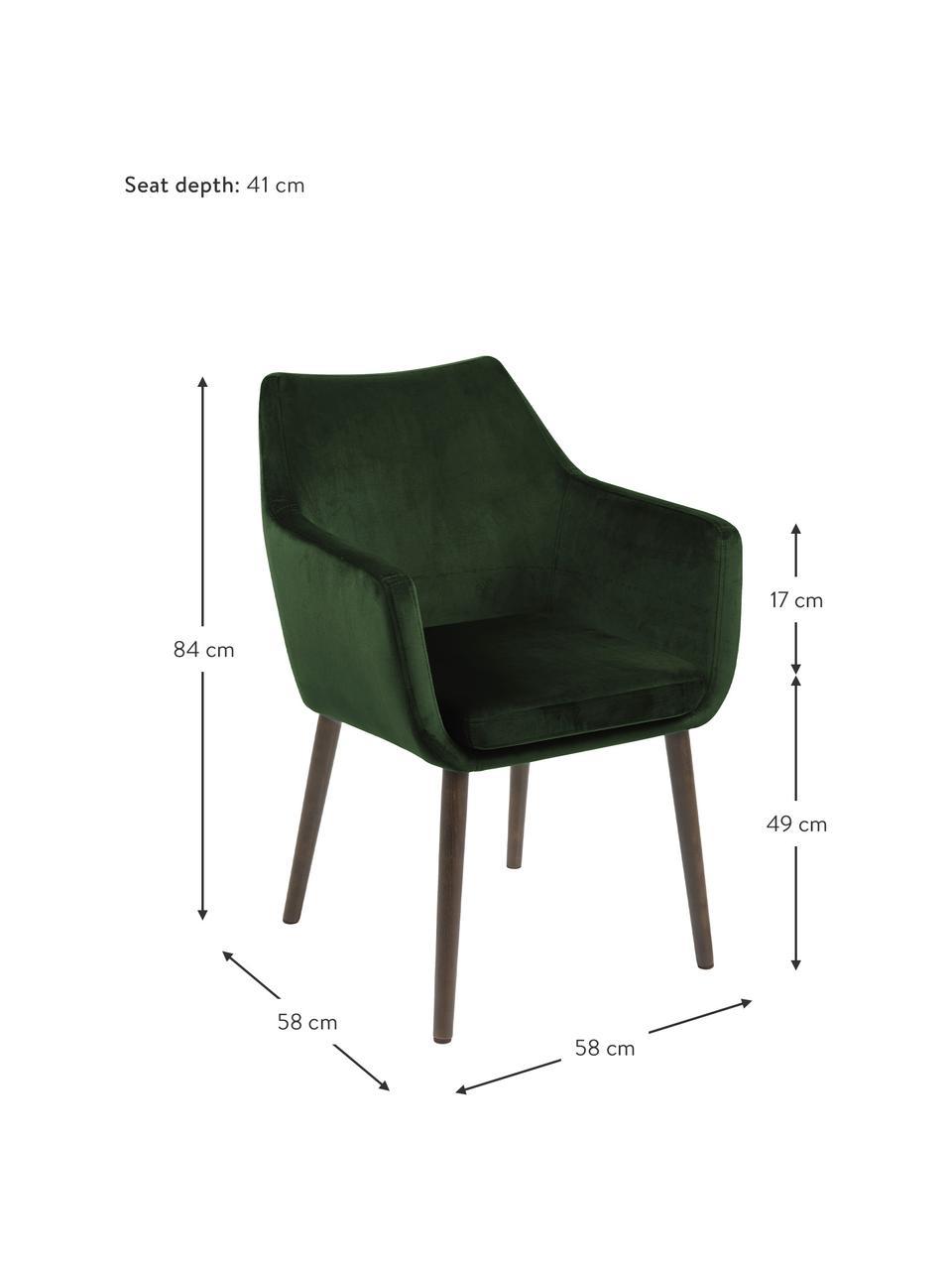 Samt-Armlehnstuhl Nora mit Holzbeinen, Bezug: Polyestersamt Der hochwer, Beine: Eichenholz, gebeizt, Samt Waldgrün, Beine: Eiche, B 58 x T 58 cm