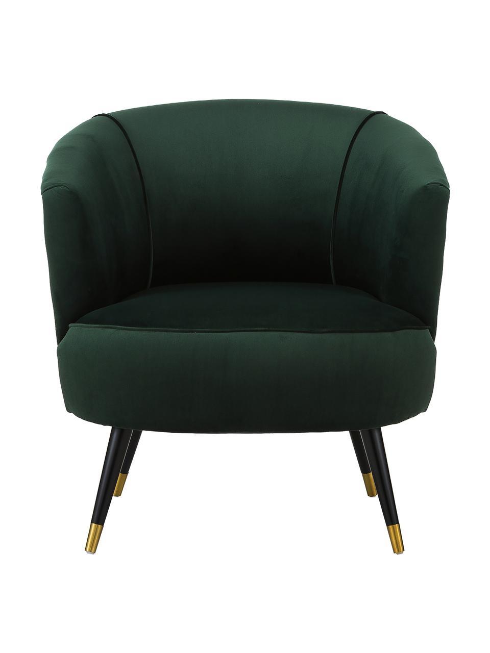 Fotel koktajlowy z aksamitu Ella, Tapicerka: aksamit (poliester) Dzięk, Nogi: metal lakierowany, Aksamitny ciemny zielony, S 74 x G 78 cm