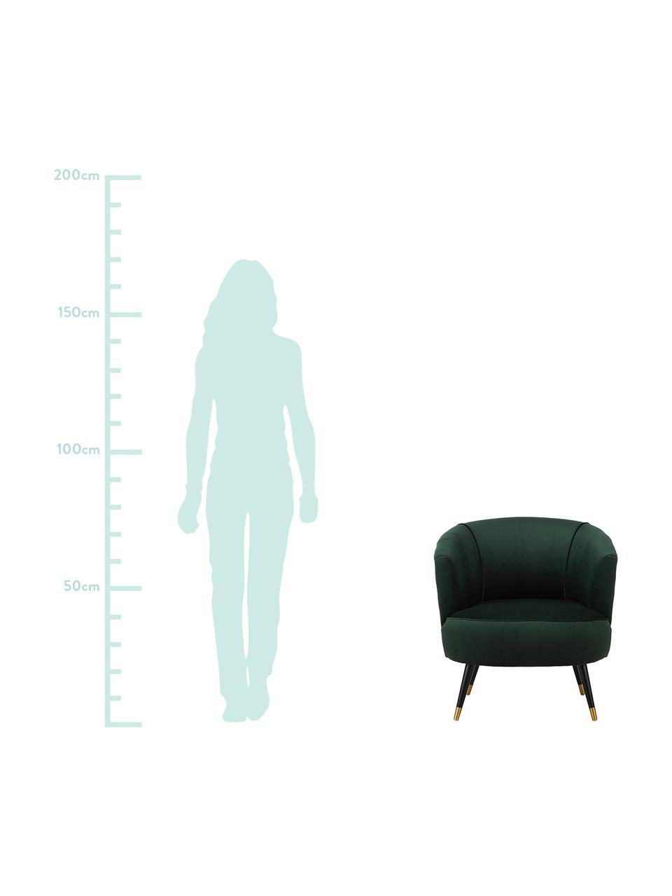 Fluwelen fauteuil Ella in groen, Bekleding: fluweel (polyester), Poten: gelakt metaal, Fluweel donkergroen, B 74 x D 78 cm