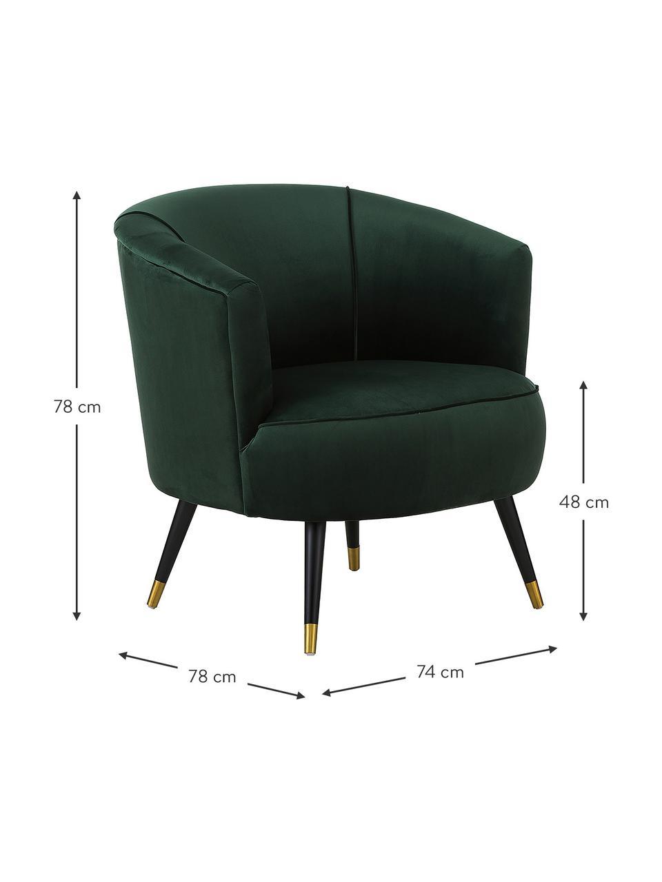 Poltrona in velluto verde scuro Ella, Rivestimento: velluto (poliestere) 50.0, Piedini: metallo verniciato, Velluto verde scuro, Larg. 74 x Prof. 78 cm