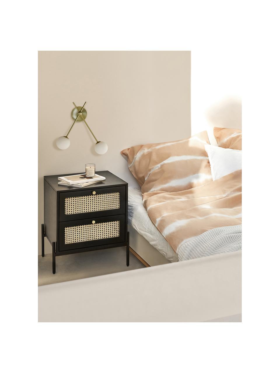 Table de chevet avec tiroirs en cannage Vienna, Noir, beige, couleur dorée