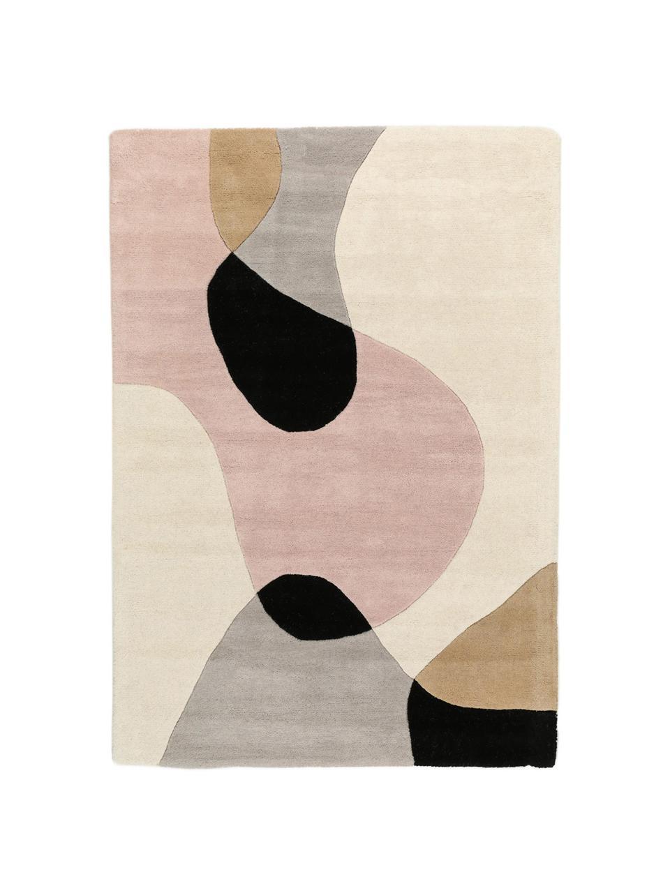 Handgetuft wollen vloerkleed Matrix Arc met geometrisch patroon, Bovenzijde: 100% wol, Onderzijde: 100% katoen Bij wollen vl, Beigetinten, roze, lichtgrijs, zwart, B 200 x L 300 cm (maat L)