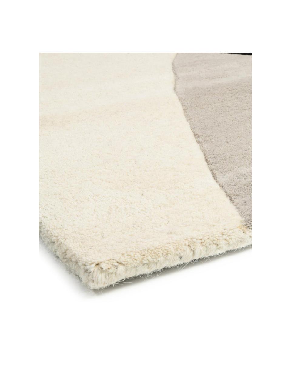 Tappeto in lana taftato a mano con motivo geometrico Matrix Arc, Retro: 100% cotone Nel caso dei , Tonalità beige, rosa, grigio chiaro, nero, Larg. 160 x Lung. 230 cm (taglia M)