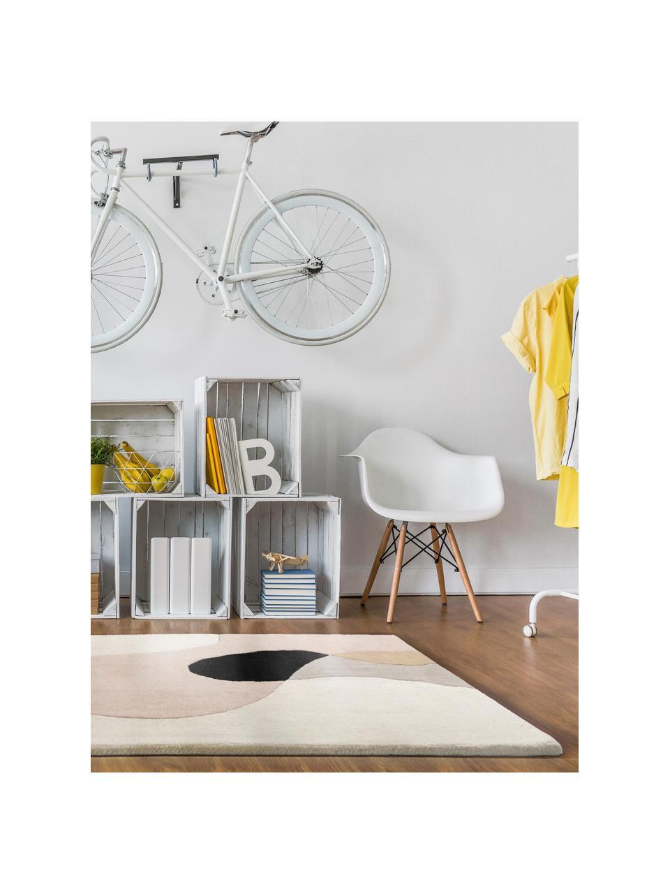 Tapis en laine graphique Matrix Arc, Tons beiges, rose, gris clair, noir