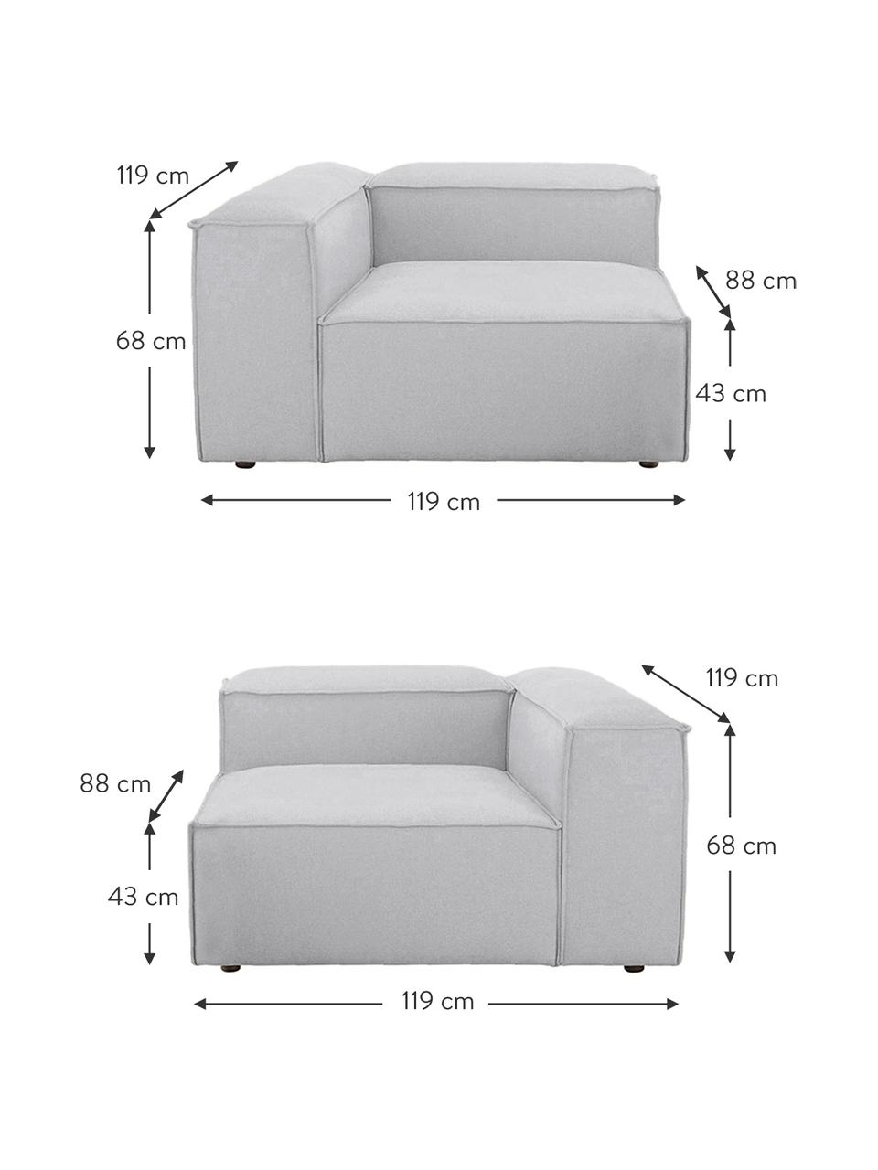 Sofa modułowa Lennon (3-osobowa), Tapicerka: poliester Dzięki tkaninie, Stelaż: lite drewno sosnowe, skle, Nogi: tworzywo sztuczne Nogi zn, Jasny szary, S 238 x G 119 cm