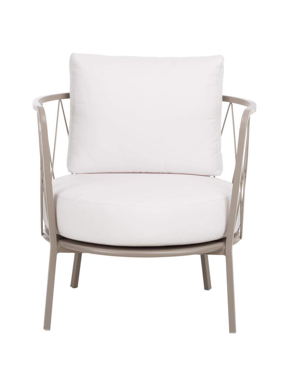 Fauteuil lounge de jardin avec assise rembourrée Sunderland, Structure: taupe Coussin d'assise et de dossier: crème