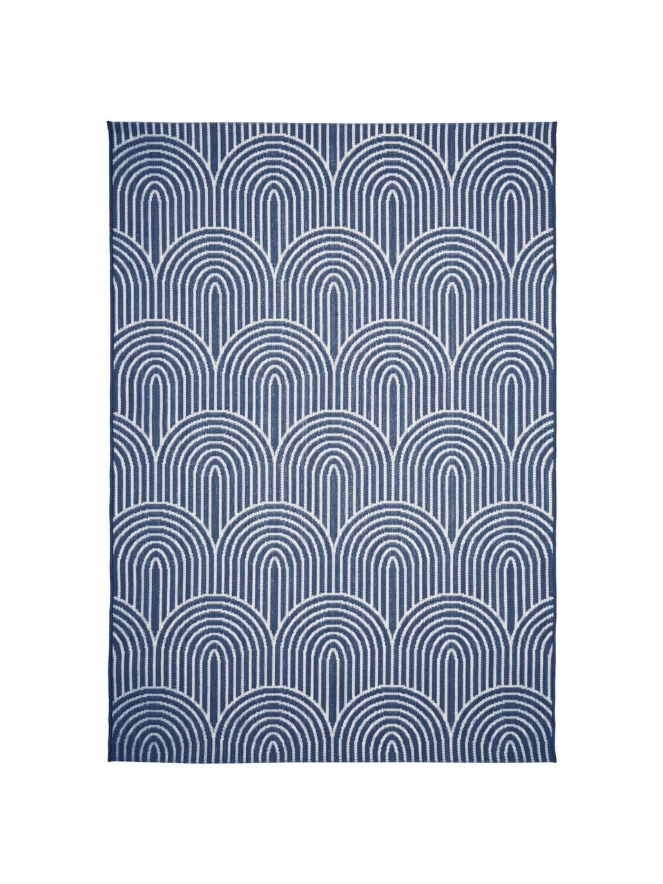 In- & Outdoorteppich Arches in Blau/Cremeweiß, 86% Polypropylen, 14% Polyester, Blau, Weiß, B 200 x L 290 cm (Größe L)