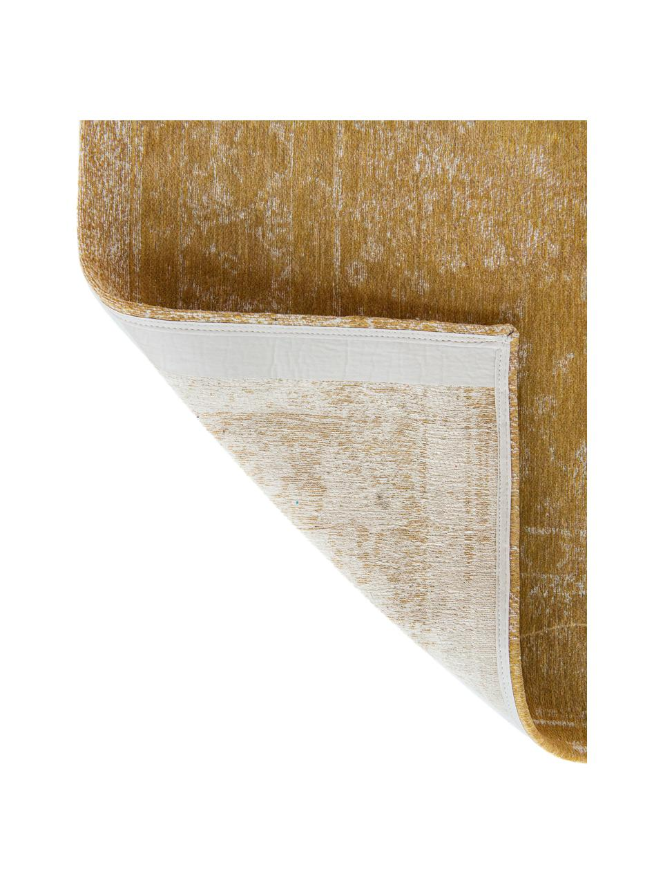 Vintage Chenilleteppich Medaillon in Gelb/Beige, Webart: Jacquard, Gelb, B 80 x L 150 cm (Größe XS)