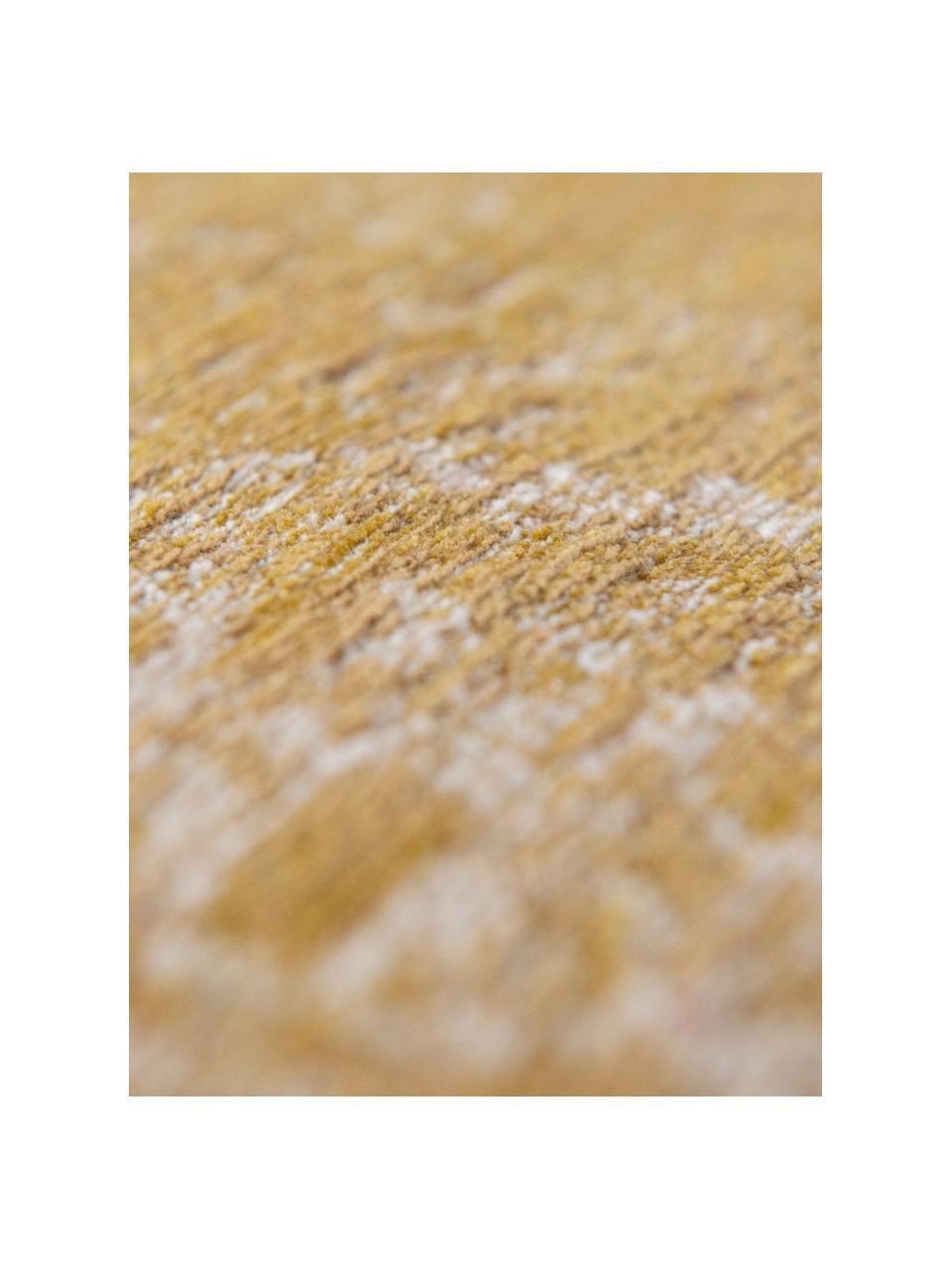 Vintage Chenilleteppich Medaillon, Vorderseite: 100% Chenillegarn (Baumwo, Webart: Jacquard, Rückseite: Chenillegarn, latexbeschi, Gelb, B 80 x L 150 cm (Größe XS)