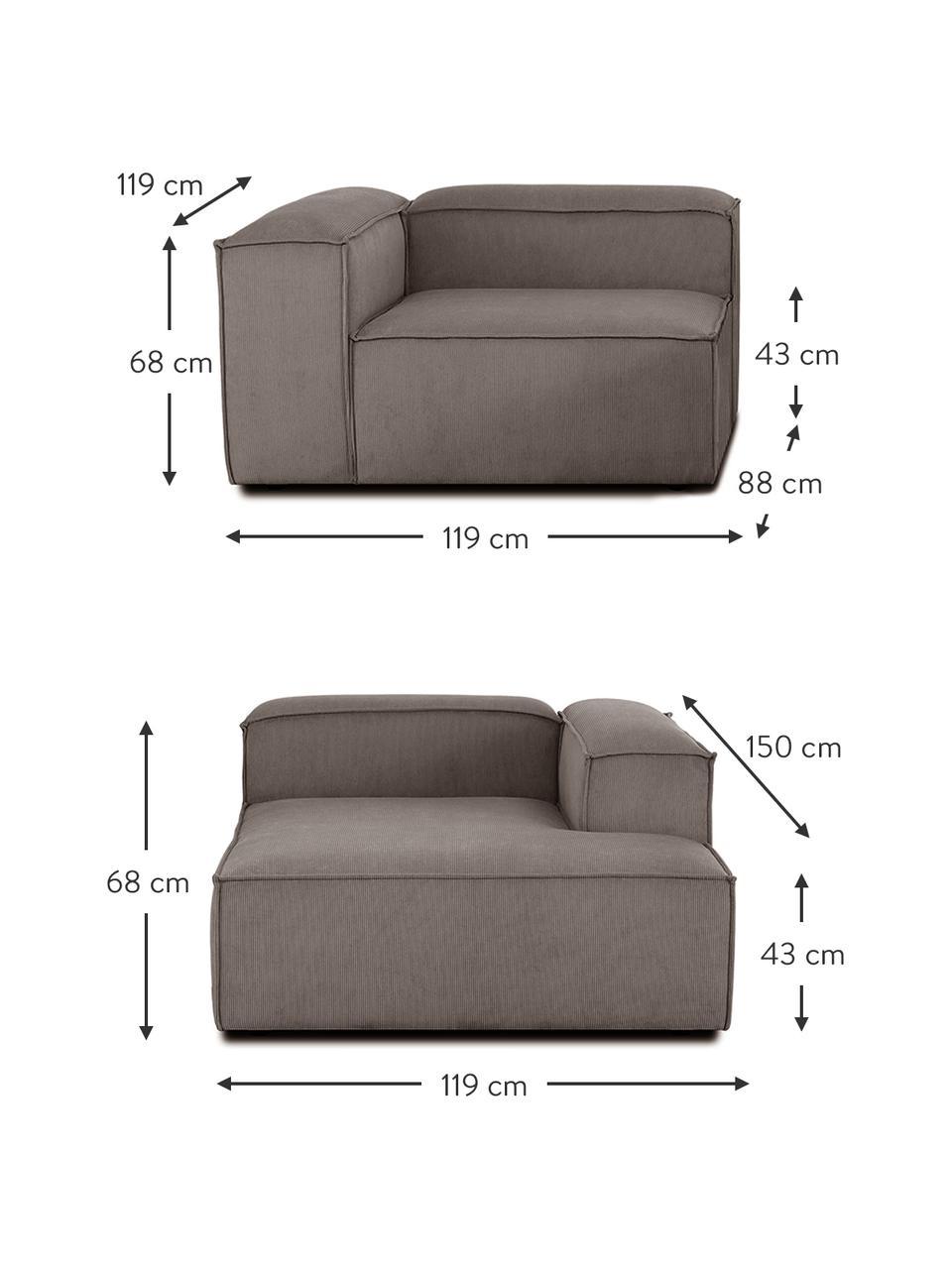 Narożna sofa modułowa ze sztruksu Lennon, Tapicerka: sztruks (92% poliester, 8, Stelaż: lite drewno sosnowe, skle, Nogi: tworzywo sztuczne Nogi zn, Sztruksowy brązowy, S 238 x G 180 cm